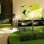 Groene badkamer met glazen elementen
