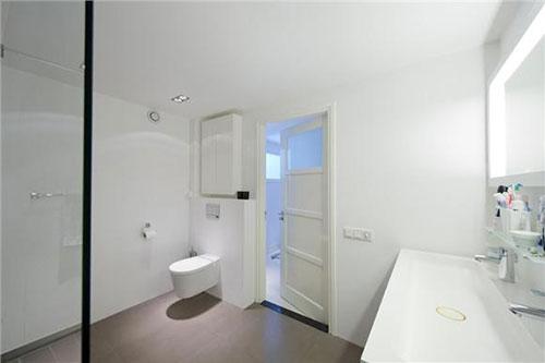 Grote moderne badkamer met dubbele douche badkamers voorbeelden - En grijze bad leisteen ...