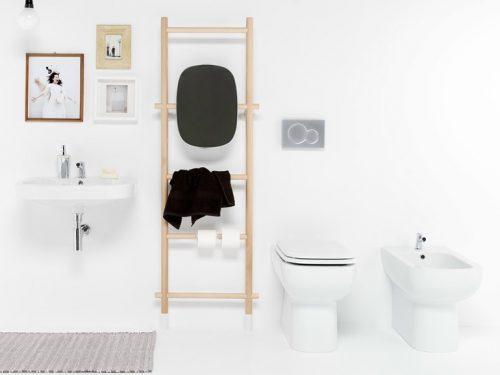Handdoekrek, toiletrolhouder en spiegel in één
