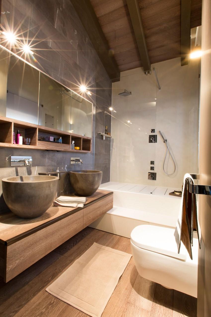 hout in ontwerp van badkamer luxe chalet badkamers