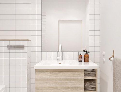 Houten accenten in een minimalistische badkamer