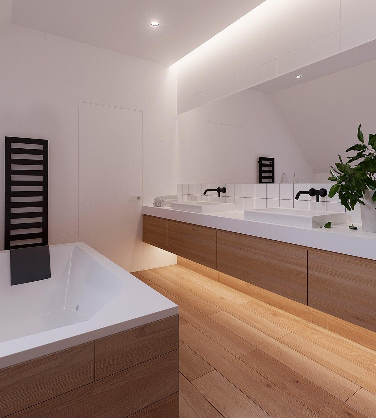 Luxe moderne badkamer met houten vloer door architectenbureau zrobym badkamers voorbeelden - Badkamer houten vloer ...
