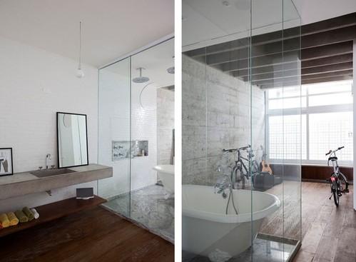 Transparante loft badkamer - Badkamers voorbeelden