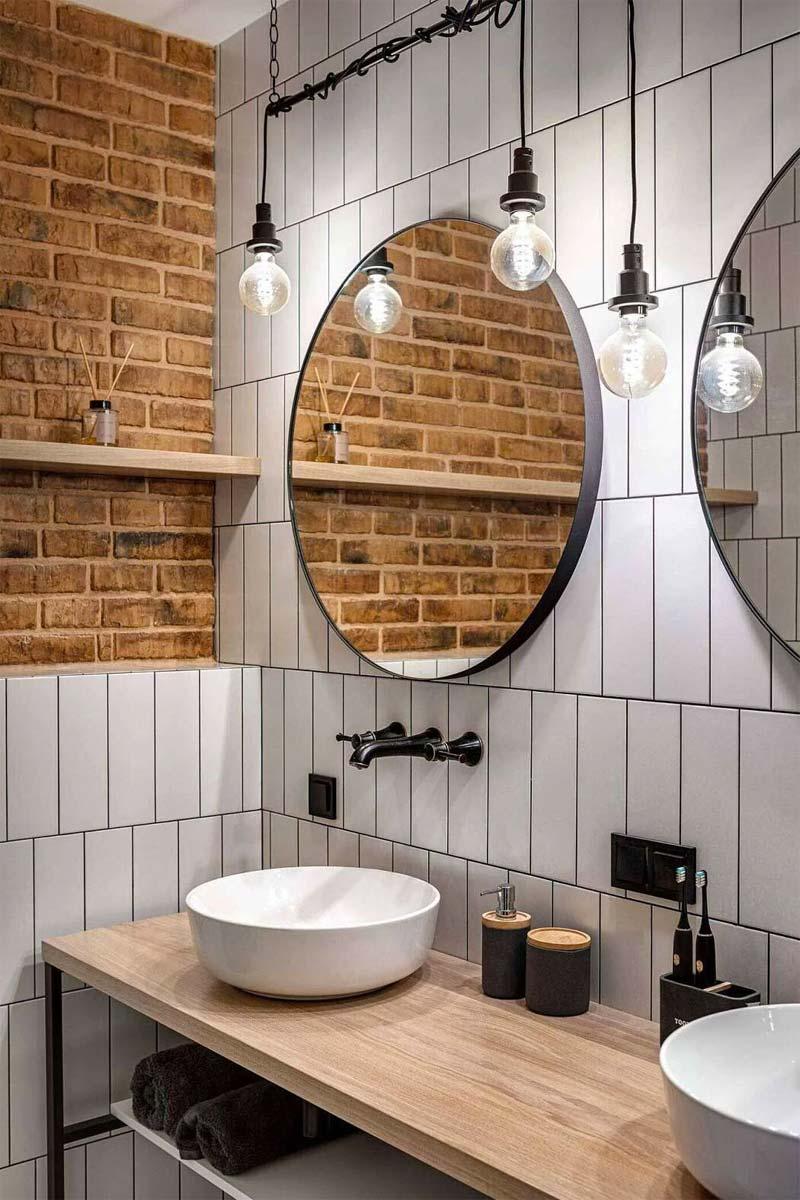 Industrieel badkamerontwerp voor een kleine badkamer