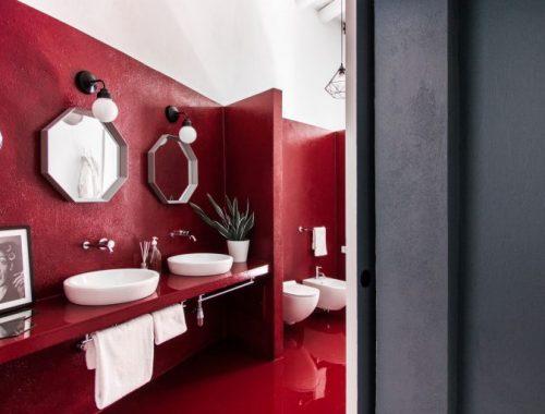Rood witte badkamer badkamers voorbeelden - Italiaanse badkamer ...