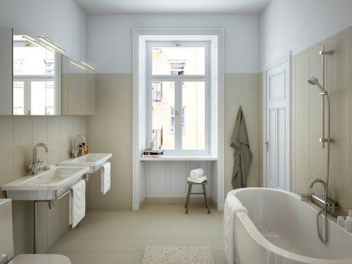 Karakteristieke klassieke badkamer met moderne items - Badkamers ...