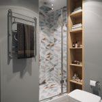Klein modern badkamer ontwerp door Geometrium