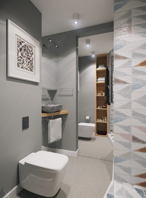 Klein modern badkamer ontwerp door Geometrium - Badkamers voorbeelden