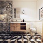 Kleine badkamer met twee soorten patroontegels