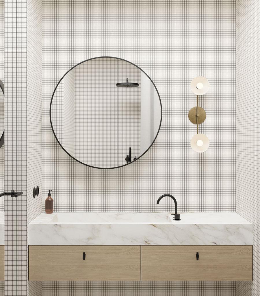 Kleine designbadkamer door architect Emil Dervish