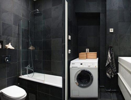 Kleine grijze badkamer