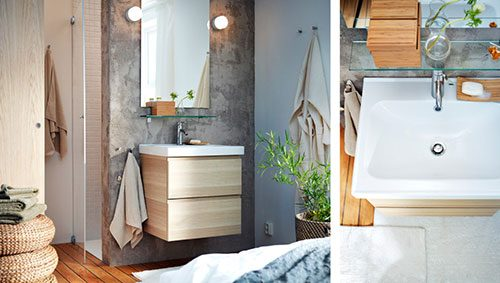 Kleine IKEA badkamer in slaapkamer