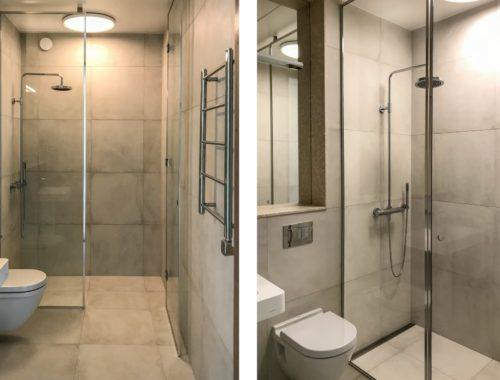 Kleine moderne badkamer met granieten keramische tegels