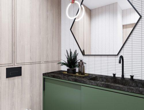 Kleine mooie badkamer met een hoog designgehalte