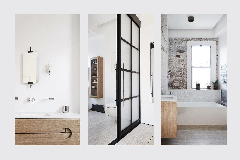 Kleine stoere Scandinavische badkamer in New Yorkse loft