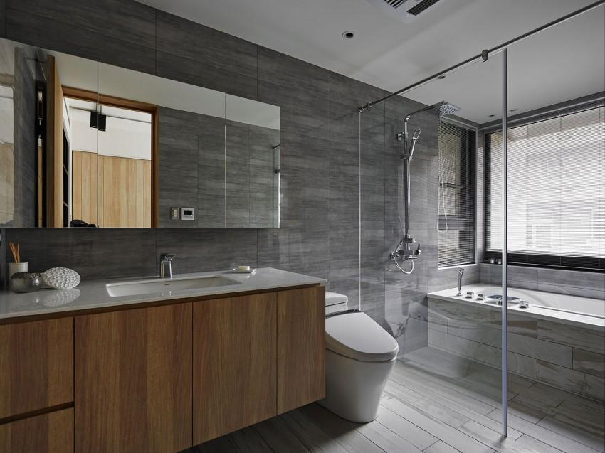 Langwerpige grijze tegels - Badkamers voorbeelden