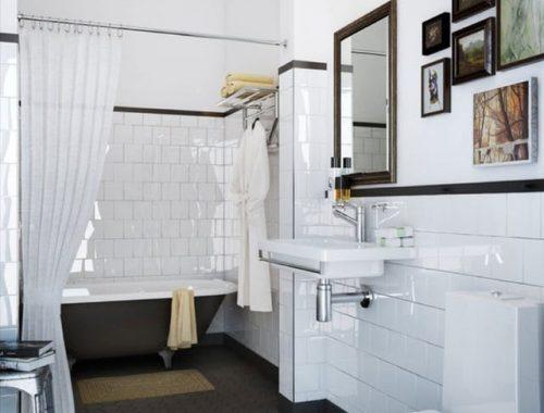 Leuke klassieke zwart wit badkamer