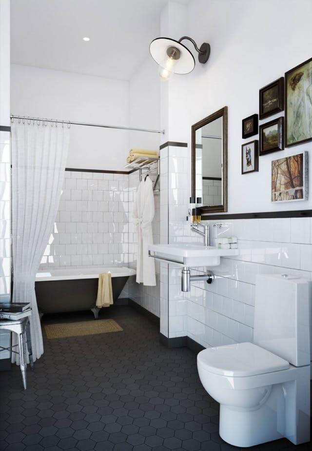 Leuke klassieke zwart wit badkamer - Badkamers voorbeelden