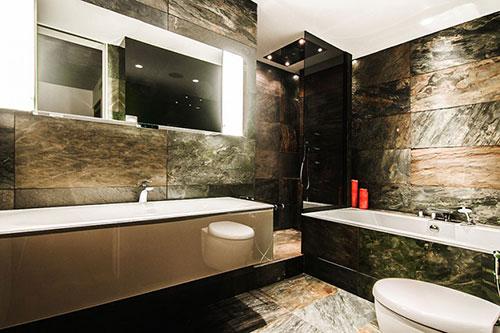 Natuursteen Voor Badkamer : Luxe badkamer met donkere natuursteen badkamers voorbeelden