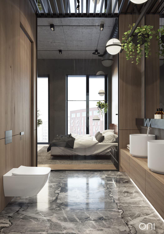 Luxe badkamer en suite in Russische loft - Badkamers voorbeelden