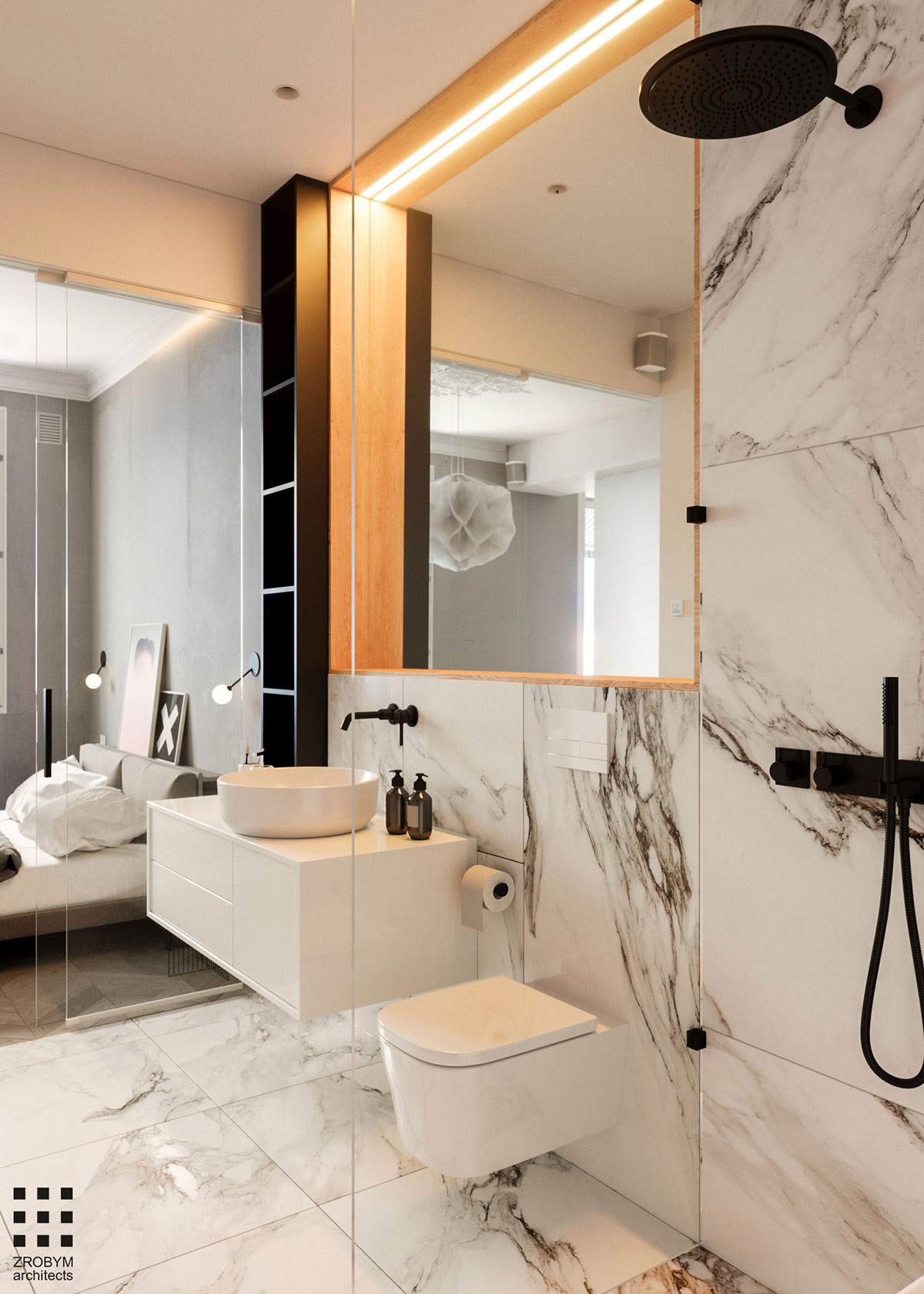 Luxe badkamer ensuite met wit marmer en zwarte kranen