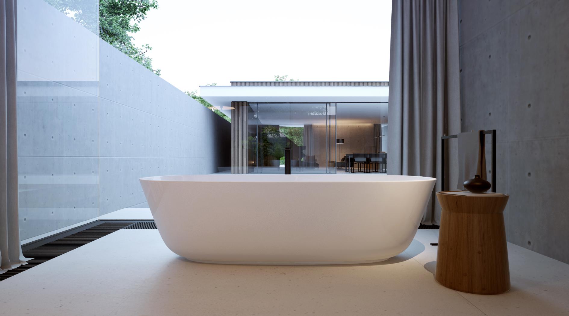 Luxe badkamer met hout, beton en glas