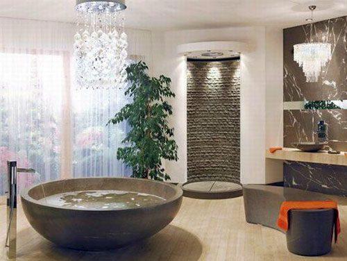 Luxe badkamer met rond bad