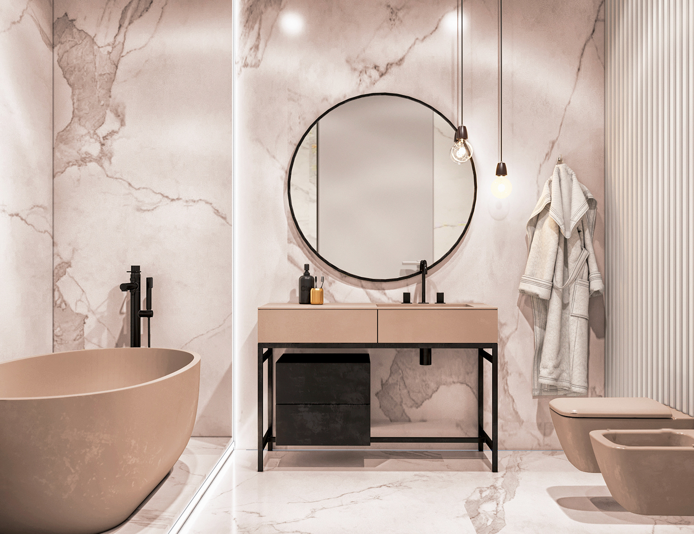 Chique Badkamer Ontwerp : Luxe chique badkamer met zwarte accenten badkamers voorbeelden
