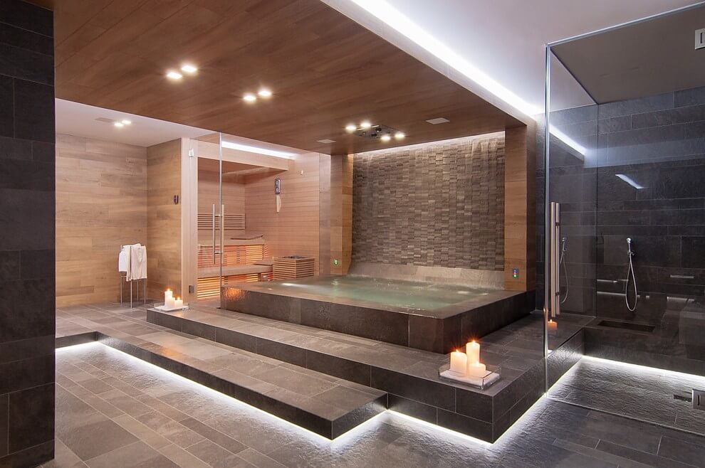 Luxe wellness ruimte in italiaanse villa badkamers voorbeelden