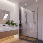 Luxe moderne badkamer met houten vloer door architectenbureau ZROBYM