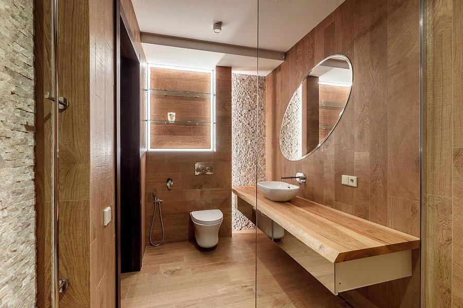 Luxe moderne rustieke badkamer met houtlook tegels badkamers