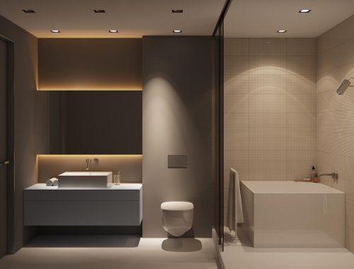 Luxe strakke badkamer met warme tinten