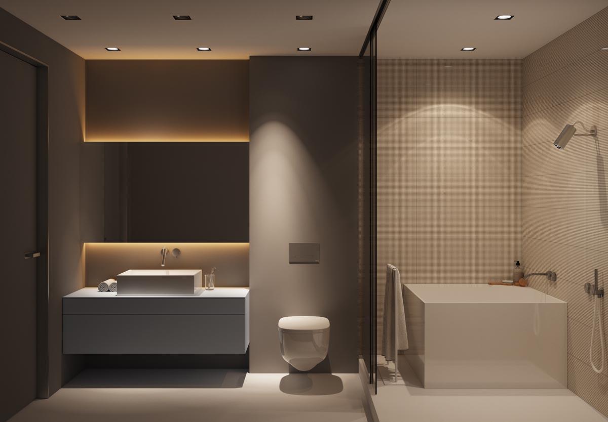 Luxe strakke badkamer met warme tinten - Badkamers voorbeelden