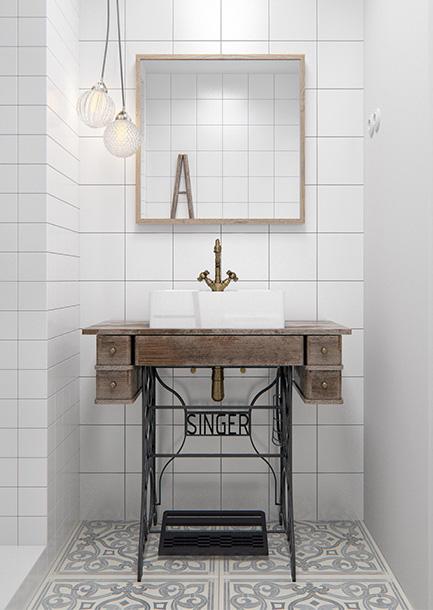 Minimalistisch witte badkamer met industriële vintage elementen
