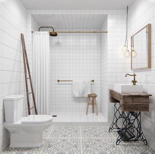 Minimalistisch witte badkamer met industriële vintage elementen ...