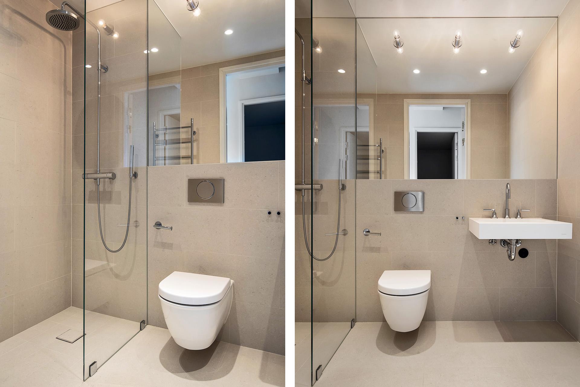 Minimalstische lichte badkamers van een voormalige radiofabriek