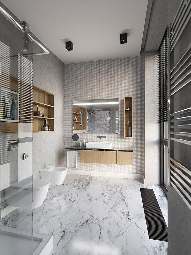 Modern badkamerontwerp met grijs, marmer en hout