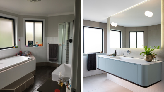 Modern badkamerontwerp met grote grijze tegels