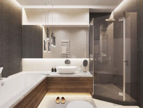 Modern badkamerontwerp met mooie tegelmix