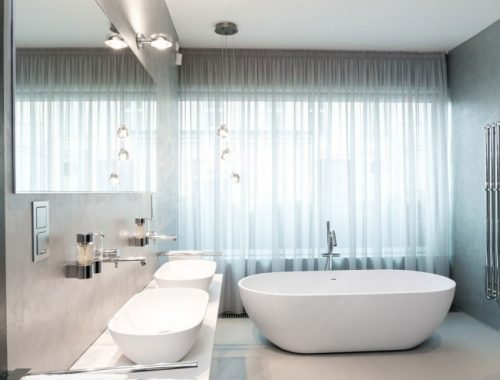Moderne badkamer met beton cire
