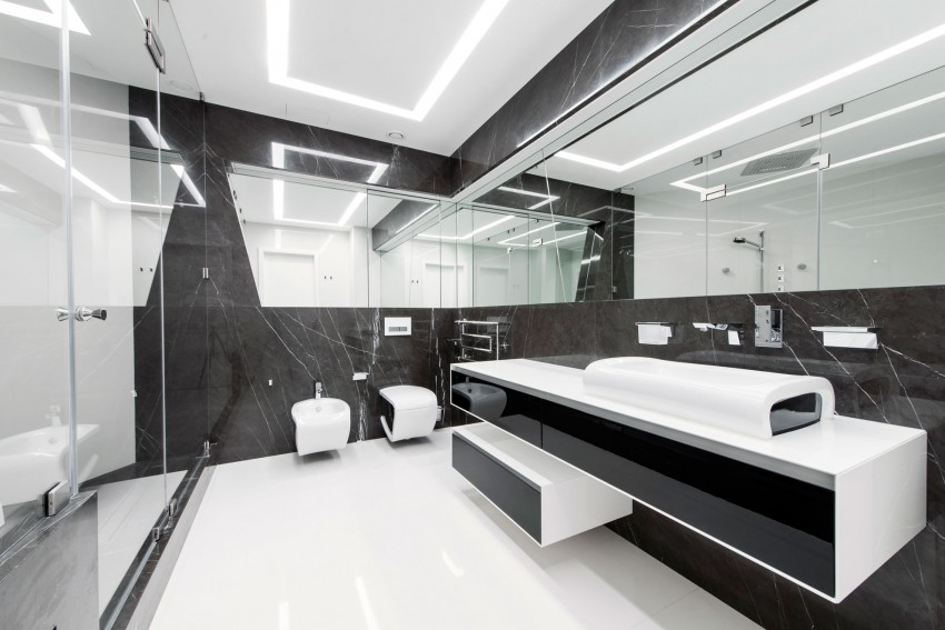 Extreem Moderne badkamer met grijs en wit - Badkamers voorbeelden #JO44