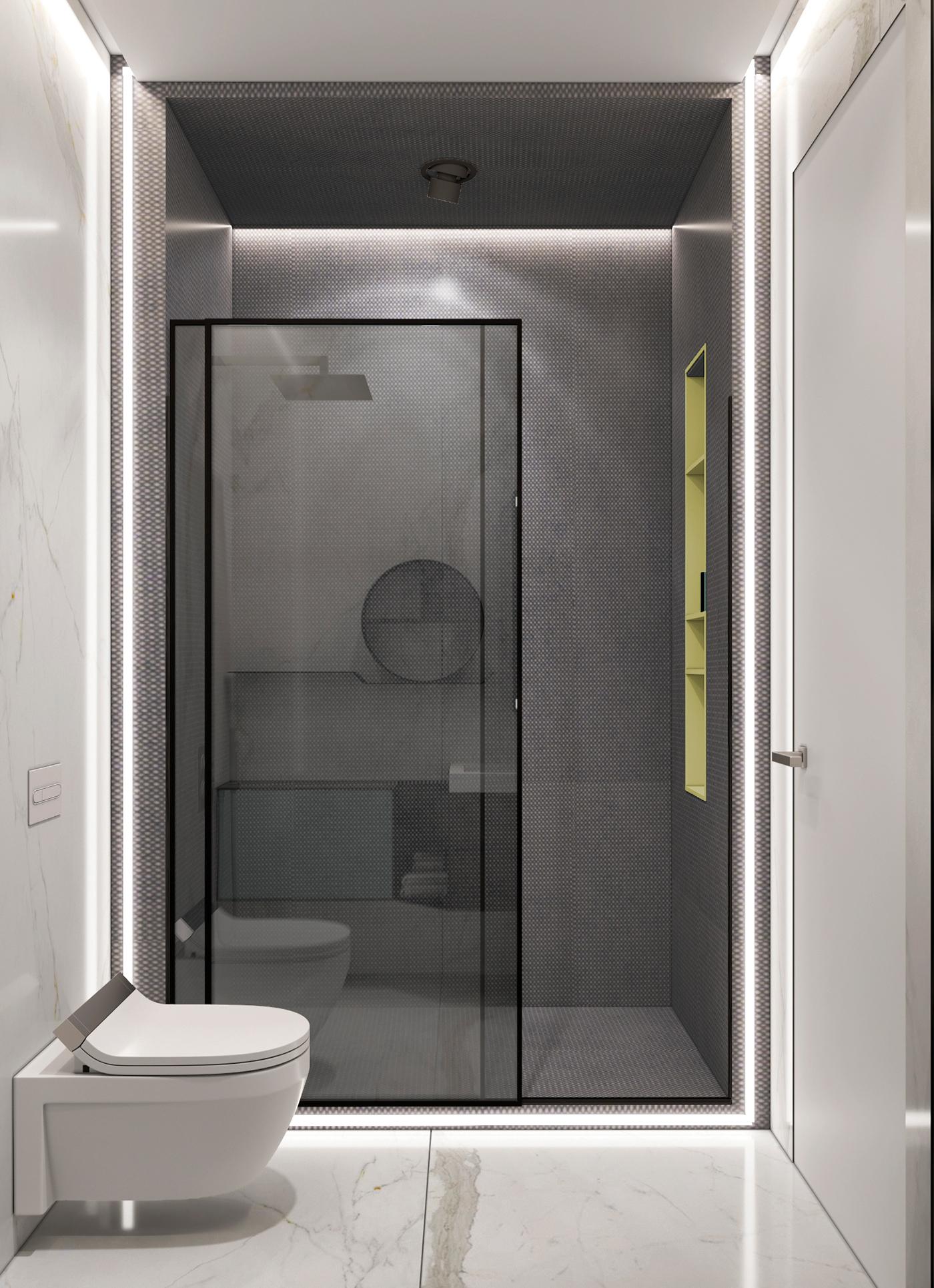 Moderne badkamer met een hoog designgehalte badkamers voorbeelden - Winkelruimte met een badkamer ...