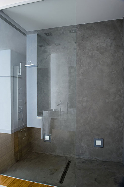 Moderne badkamer met beton en hout badkamers voorbeelden - Badkamer minerale ...