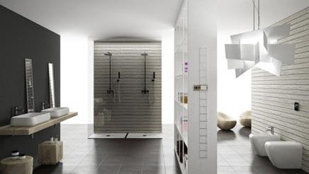 Moderne badkamer met dubbele douche badkamers voorbeelden - Moderne badkamer met italiaanse douche ...