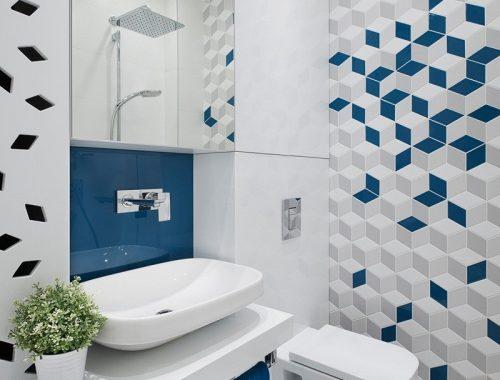 Moderne badkamer met geometrische patronen uit Bulgarije