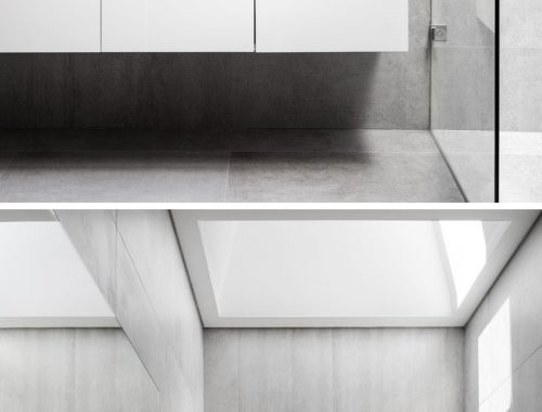 Moderne badkamer met grote grijze betonlook tegels
