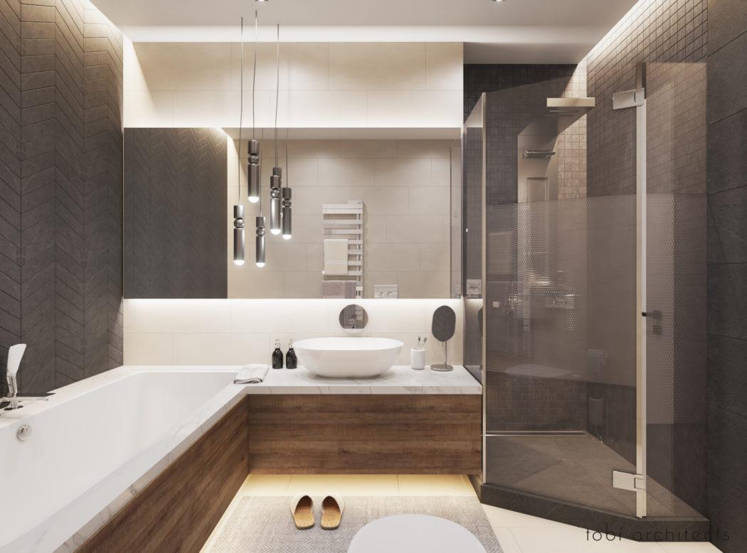 Moderne badkamer met warme sfeer