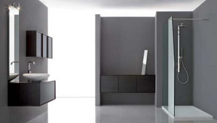 Grijze strakke moderne badkamer badkamers voorbeelden - Wastafel leroy merlin ...