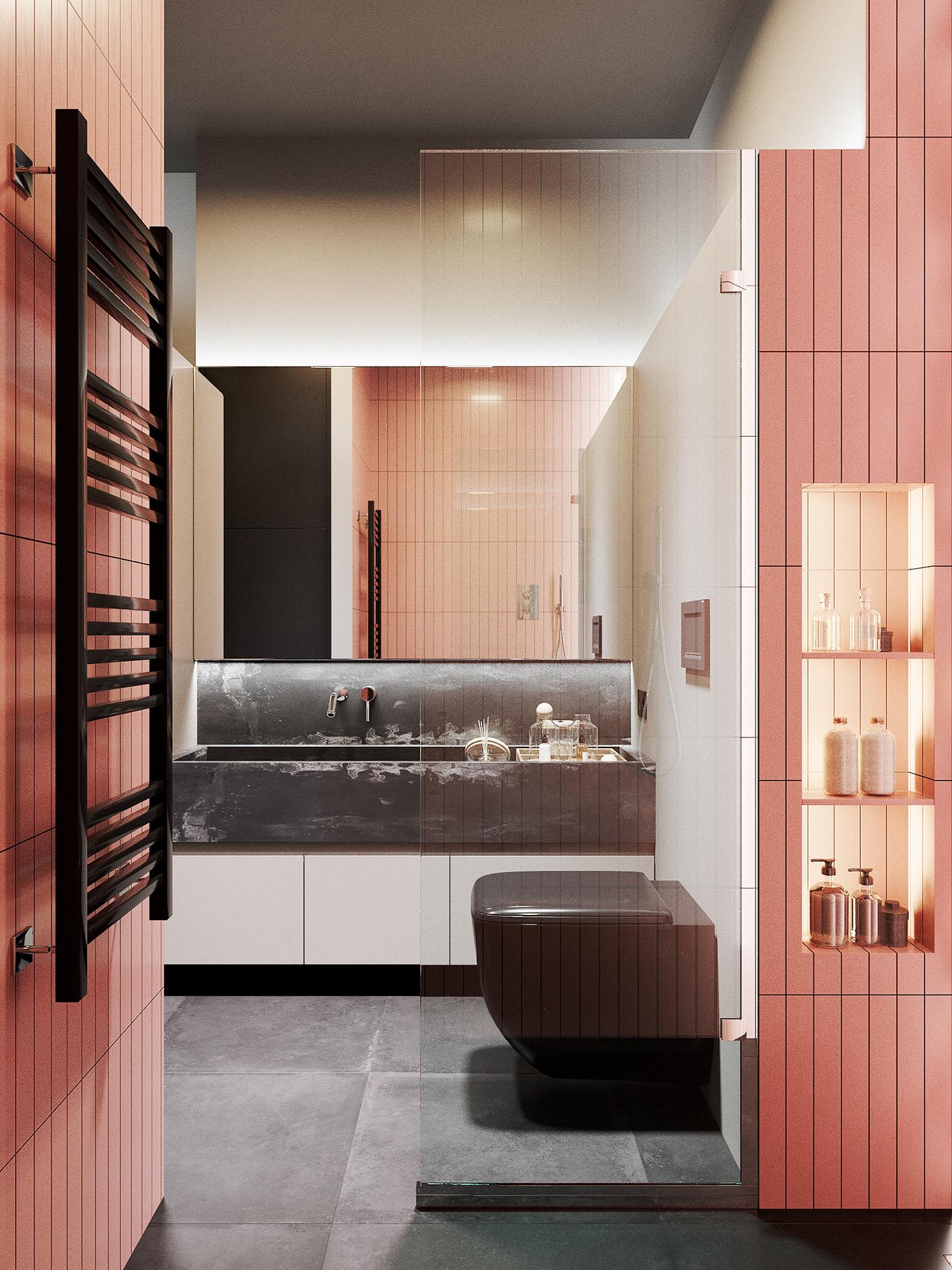 Moderne grijs & roze badkamer