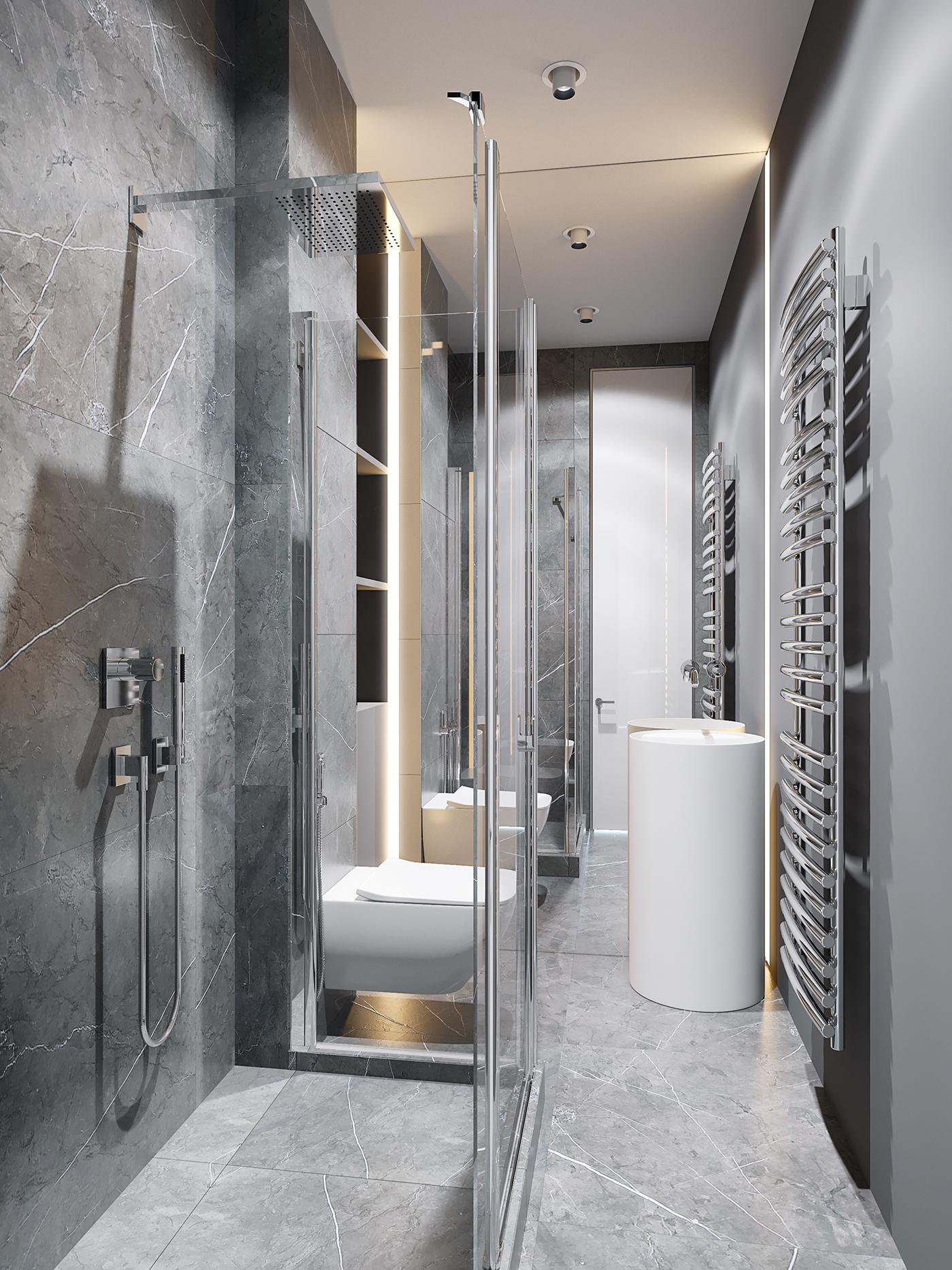 Moderne luxe badkamer met marmeren tegels